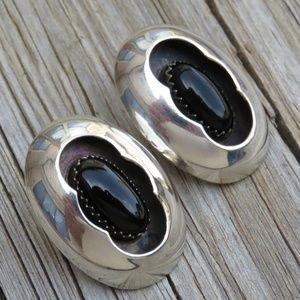 UNIQUE!! Vintage Navajo 925 Sterling Onyx Earrings